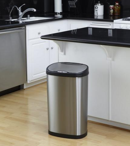 Lightning Deal Nine Stars DZT-50-13 Infrared Touchless Stainless Steel Trash Can, 13.2-Gallon