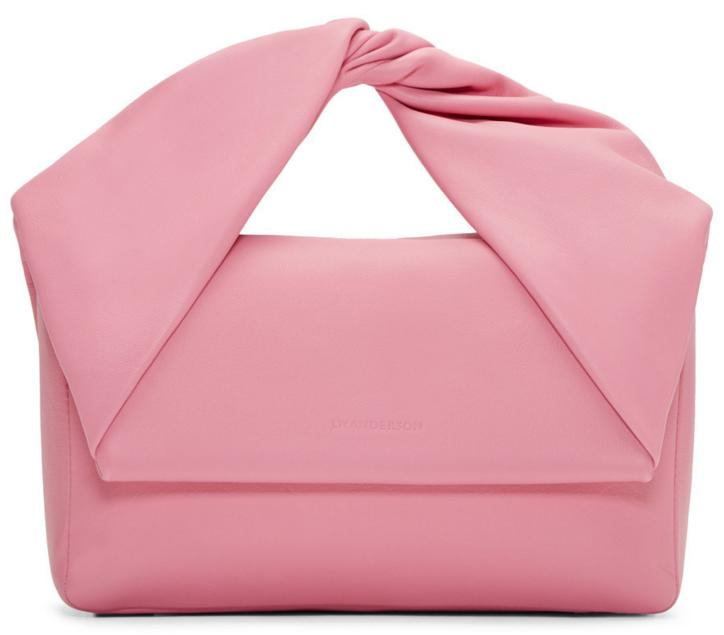 J.W. ANDERSON Pink Leather Twist Bag @ SSENSE