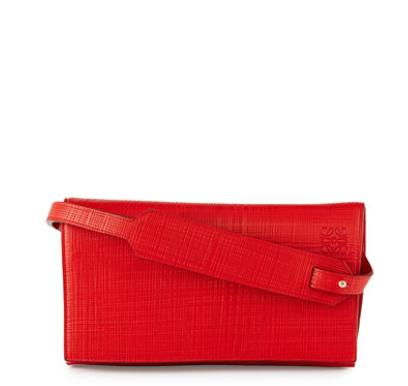 Loewe Crosshatched Leather Flap-Top Clutch Bag @ Bergdorf Goodman