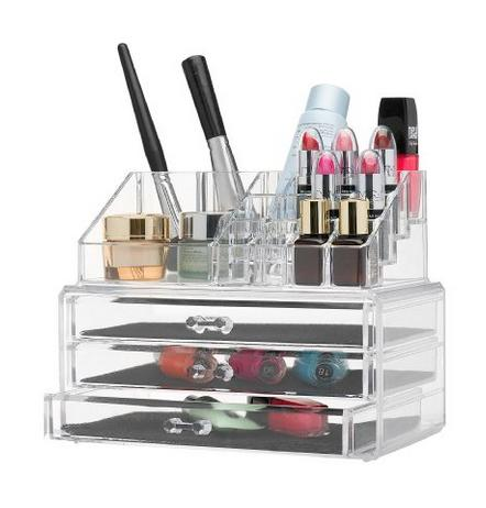 $13.87 Home-it Clear acrylic makeup organizer cosmetic organizer and Large 3 Drawer Jewerly Chest