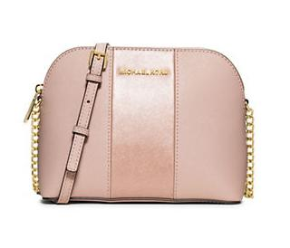 MICHAEL MICHAEL KORS Cindy Striped Leather Dome Crossbody