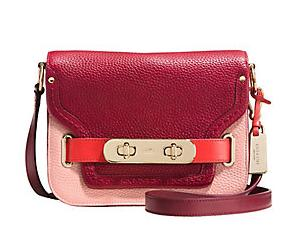COACH  Swagger Colorblock Pebble Leather Shoulder Bag