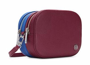 ROBINSON PEBBLED COLOR-BLOCK DOUBLE-ZIP CROSS-BODY @ Tory Burch