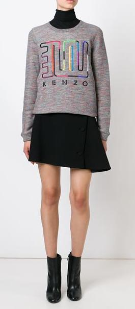 KENZO Embroidered Cotton & Wool Sweatshirt On Sale @ Nordstrom