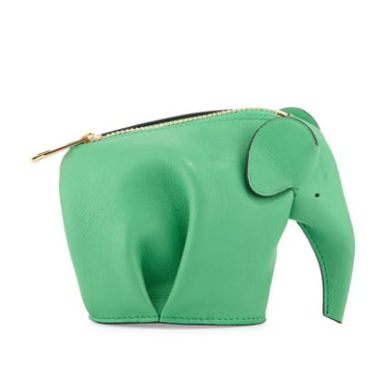 Loewe Leather Elephant Coin Purse, Green @ Bergdorf Goodman