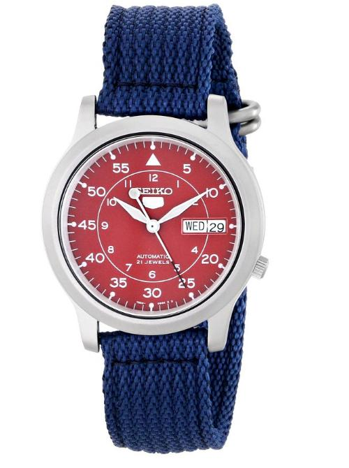 $30.00 Seiko Men's SNKM95 Amazon Exclusive Stainless Steel Automatic Watch with Blue Canvas Band
