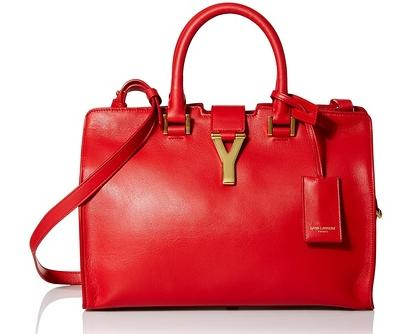 Saint Laurent Leather Satchel, Red On Sale @ MYHABIT