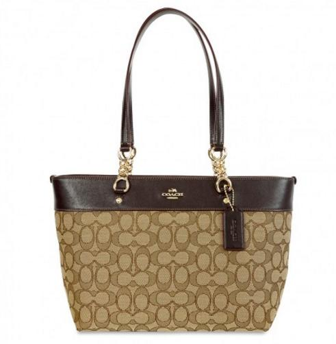COACH Sophia Small Tote- Light Gold/Khaki Brown