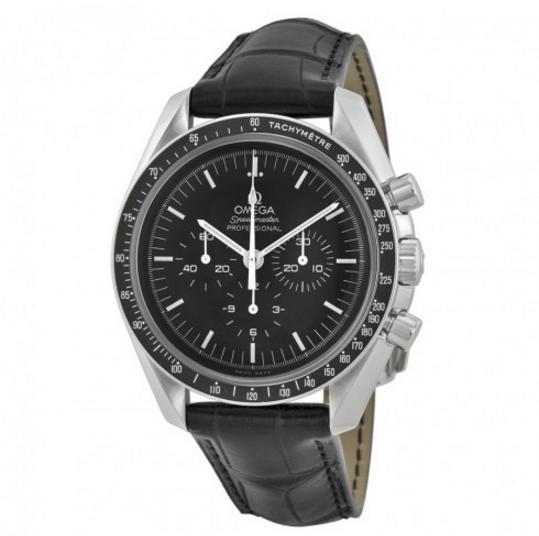 OMEGA Speedmaster Chronograph Black Dial Black Leather Men's Watch