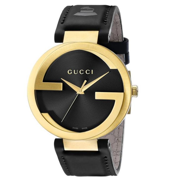 Lowest price! Gucci Men's YA133208 Interlocking Grammy Special Edition Yellow Gold PVD Stainless Steel Watch with Black Genuine Leather Band