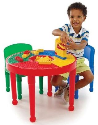 Tot Tutors 2-in-1 Round Plastic Construction Table and 2 Chairs