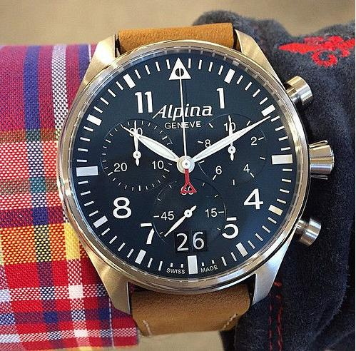 Alpina Startimer Pilot Chronograph Blue Dial Brown Leather Men's Watch AL-372N4S6