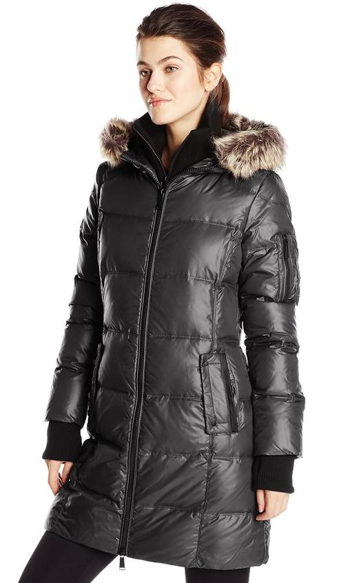 BCBGeneration Women's Down Coat with Hood and Bib @ Amazon