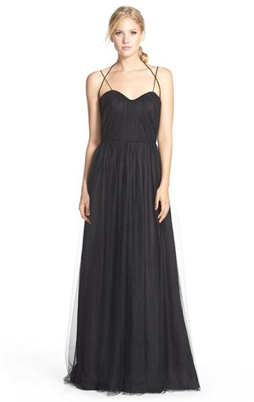 Hayley Paige Occasions Dropped Back Pleat English Net A-Line Gown @ Nordstrom