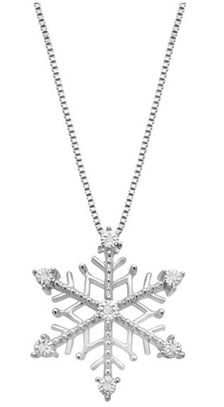 Snowflake Pendant with Diamonds