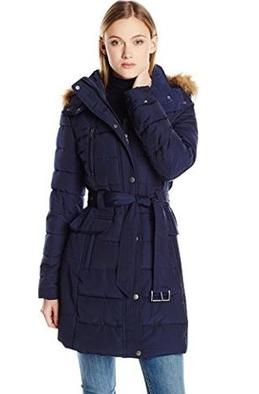 Tommy Hilfiger Down Coat with Faux Fur-Trim Hood and Striped Belt @ Amazon