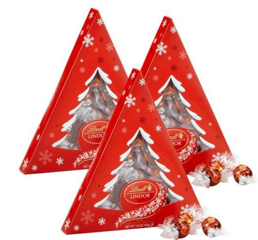 Lindor Lindt Milk Chocolate Tree Gift Box, 3 Count