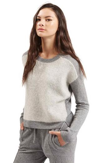Topshop Colorblock Cashmere Sweater