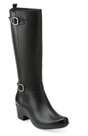 Clark Malia Poplar Leather Knee High Boots, Black