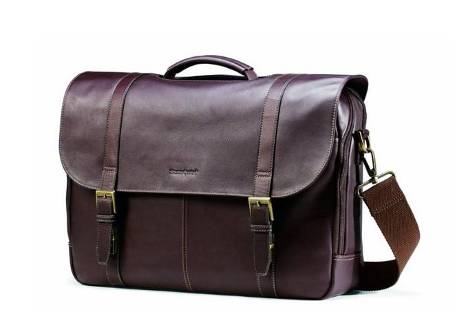 $77.29 Samsonite Colombian Leather Flap-Over Laptop Case