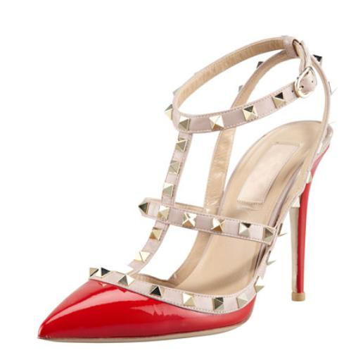 Valentino  Rockstud Two-Tone Patent Sandal, Red @ Neiman Marcus