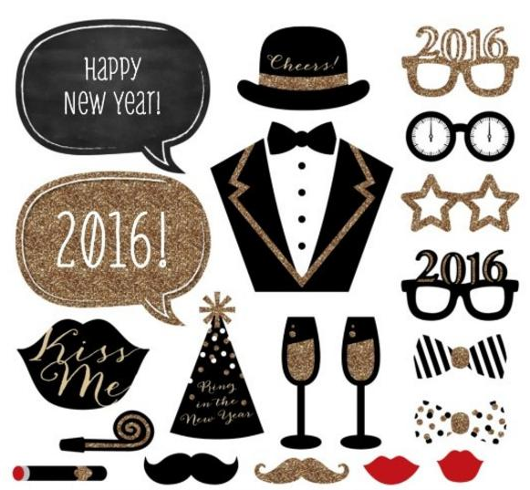 Lightning Deal New Years Eve Party - Gold - Photo Booth Props Kit - 20 Count