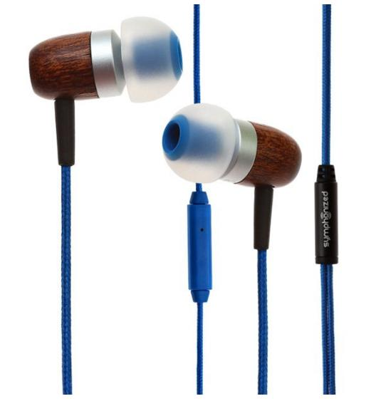 Symphonized GLXY Premium Genuine Wood In-ear Noise-isolating Headphones with Mic and Nylon Cable