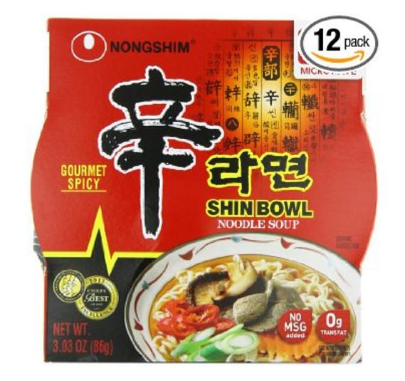 $9.58 Nongshim Shin Bowl Gourmet Spicy, 3.03 Ounce (Pack of 12)