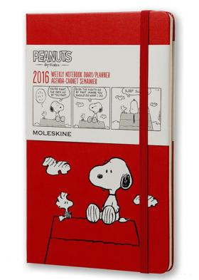 Moleskine 2016 Peanuts Limited Edition Weekly Notebook, 12M, Large, Scarlet Red, Hard Cover