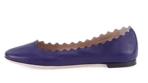Chloe  Scalloped Leather Ballerina Flat, Storm Blue