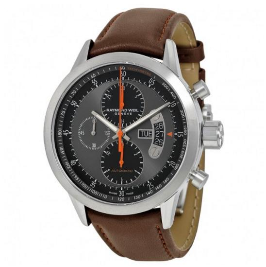 RAYMOND WEIL Freelancer Grey and Black Dial Brown Leather Men's Watch