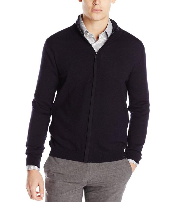 Calvin Klein Men's Merino Full Zip Cardigan Sweater @ Amazon