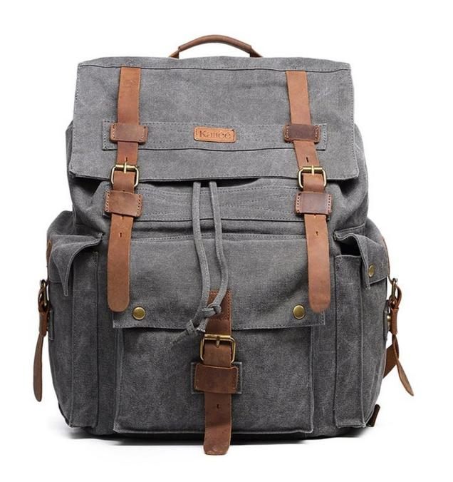 $45.59 Kattee Vintage Canvas Leather Hiking Travel Backpack Rucksack School Bag