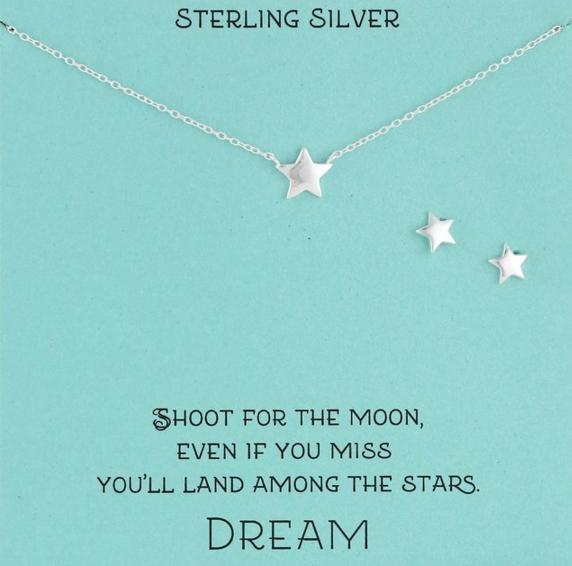 Sterling Silver Star Necklace and Earrings Jewelry Set, 18