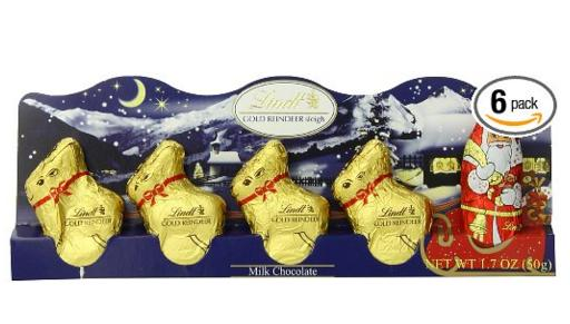 $9.99 Lindt Milk Chocolate Santa and Reindeer Figure, 1.7 oz., (Pack of 6)