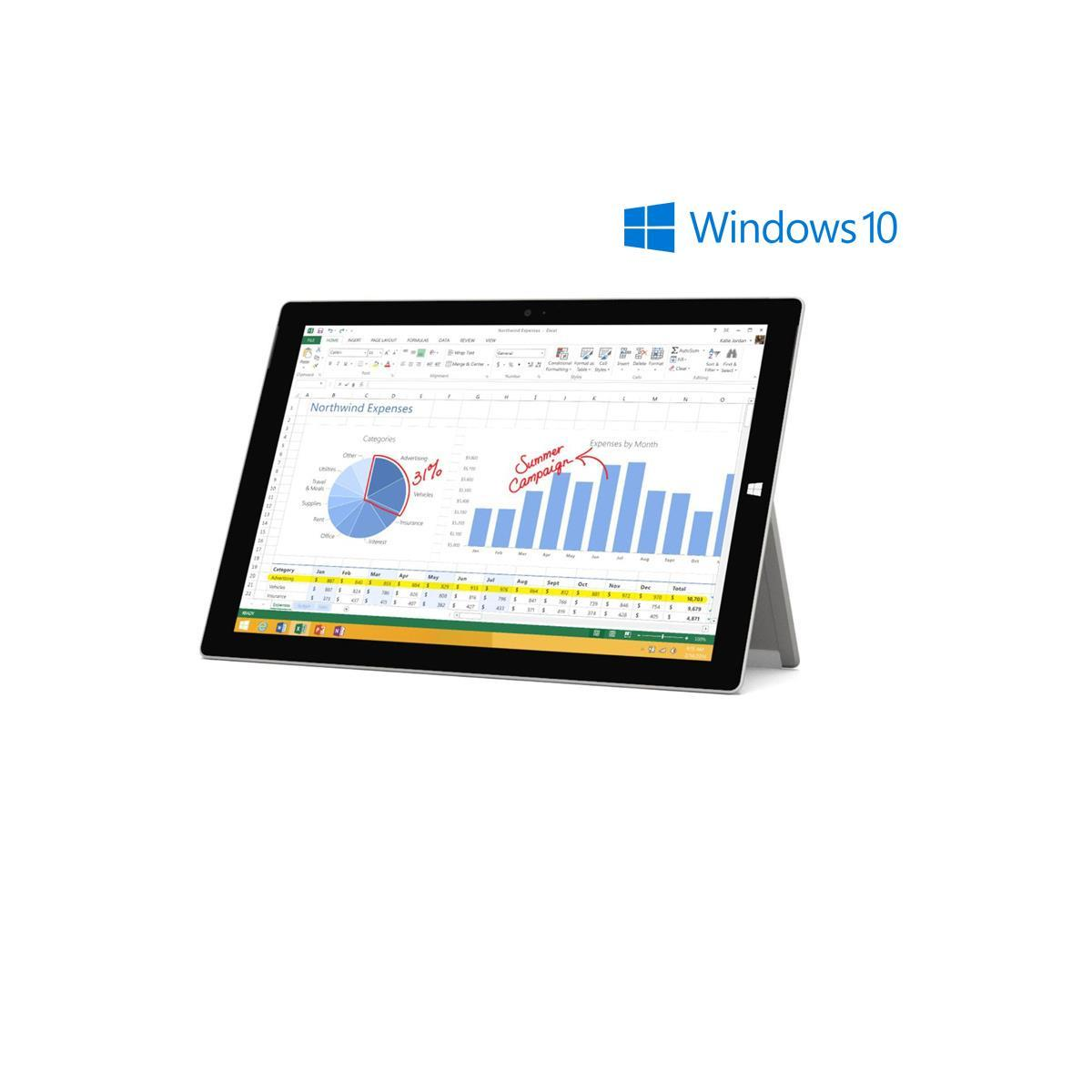 Microsoft Surface 3 Tablet (10.8' Full HD, 128 GB, Atom X7, Windows 10)