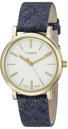 Timex Women's TW2P63800AB Originals Gold-Tone Watch with Blue Cloth Band