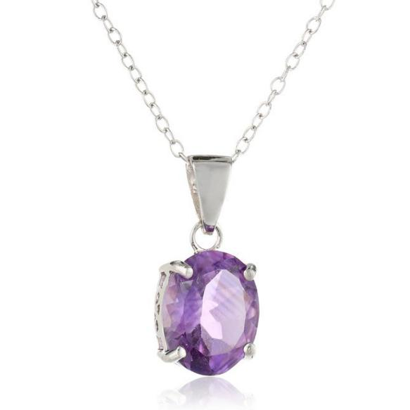 Sterling Silver and Amethyst Pendant Necklace, 18