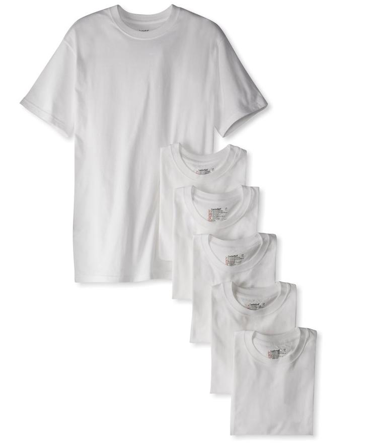 $15.56 Hanes Men's Classics 6 Pack Crew Neck Tee