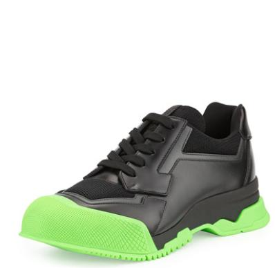 Prada  Leather Trainer Sneaker with Contrast Sole @ Bergdorf Goodman