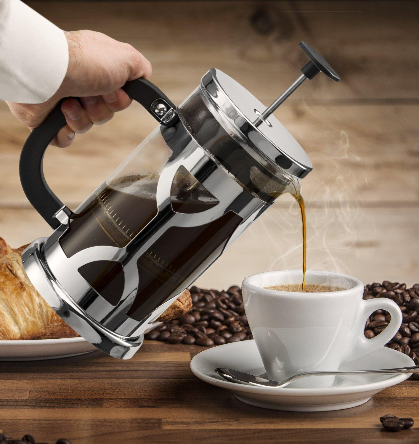 $19.99 Chef's Star French Press 34oz Coffee Maker 2 Bonus Screen Filters