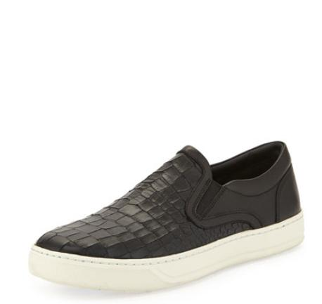 Vince Ace Men's Stamped-Leather Slip-On Sneaker, Black @ Neiman Marcus