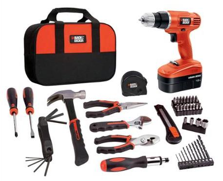 $49.00 Black & Decker 18V Cordless NiCad Drill/Driver with 64-Piece Complete Home Project Kit