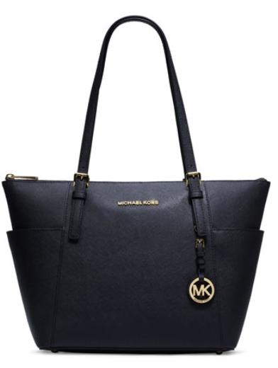 $157.5 MICHAEL Michael Kors Jet Set Top-Zip Saffiano Tote Bag, Navy