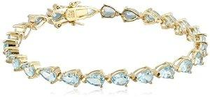Lightning Deal 18k Yellow Gold-Plated Sterling Silver Sky Blue Topaz Teardrop Tennis Bracelet, 7.25''