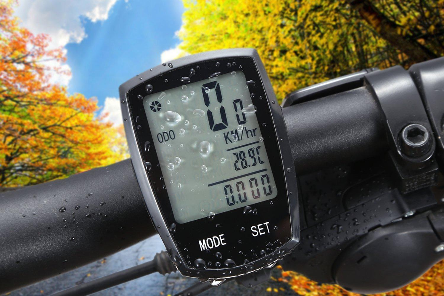 Wireless Bicycle Computer Arova Waterproof Bike Speedometer Odometer LCD Backlight Displays
