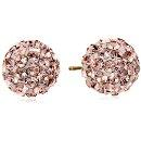 $27.99 14k Yellow Gold Rose Swarovski Elements Crystal Button Earrings