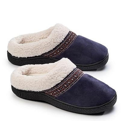 Isotoner Signature® Microsuede Sherpasoft Hoodback Slippers @ Bon-Ton