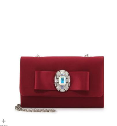 Badgley Mischka  Cher Jeweled Bow Evening Clutch Bag, Wine @ Neiman Marcus