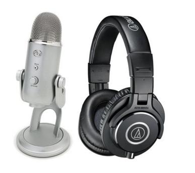 Audio-Technica Professional Monitor Headphones, - Bundle With Blue Microphones YETI USB Condenser Mic@Adorama